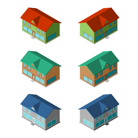 small houses: Various small houses, six modern vector buildings
