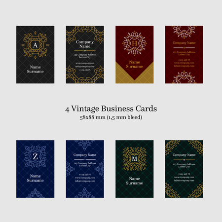 card designs: Four vintage business card designs, vertical layout