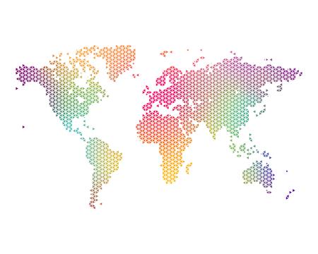 Bunten Weltkarte, bestehend aus Dreiecken, Vektor-Illustration Illustration
