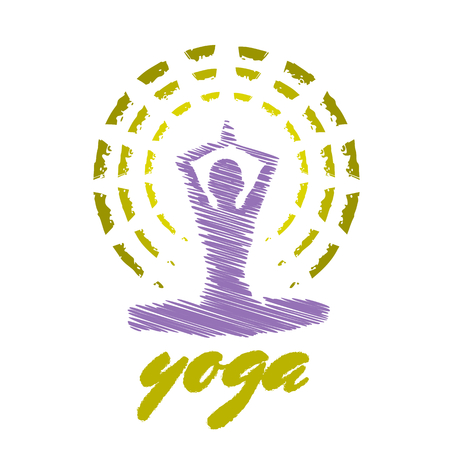 meditating woman: Colored yoga emblem with a figure of meditating woman Illustration