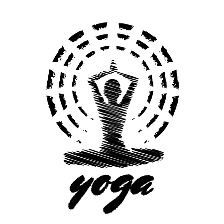 Black and white yoga emblem with a figure of meditating woman