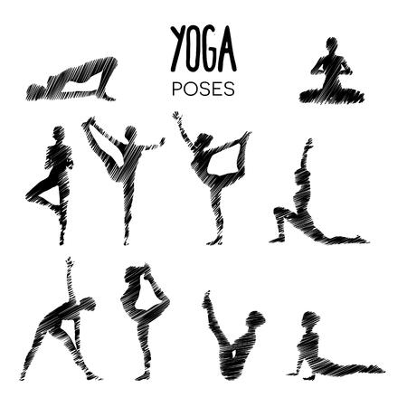 Set van verschillende yoga houdingen op zoek als een potloodtekening schets