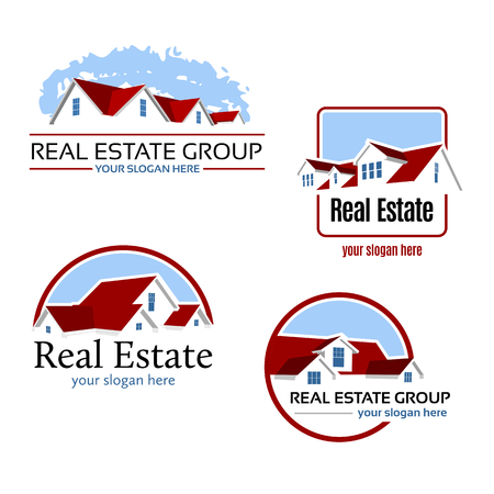 real estate icons: Four real estate emblems with a red roof, vector logo
