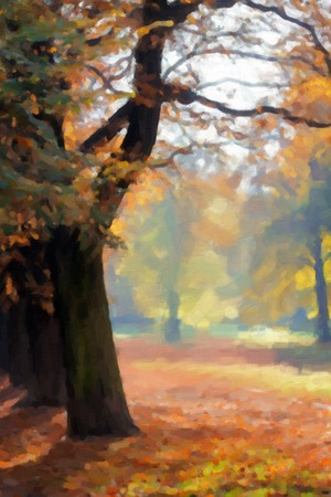 oil park: Autumn park, fall scene. Digital imitation of oil painting. Stock Photo