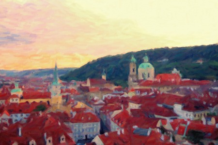 history architecture: Old Prague skyline view, oil painting imitation