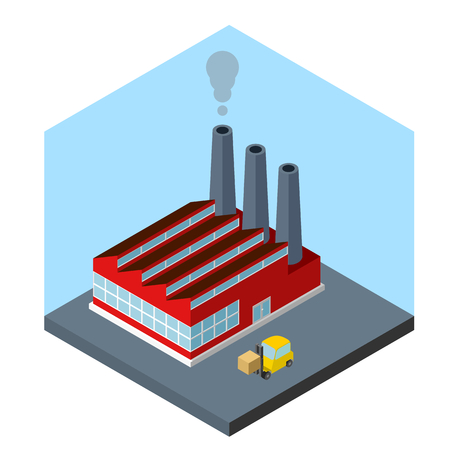 industrial buildings factory: Isometric factory icon, abstract factory and forklift loader