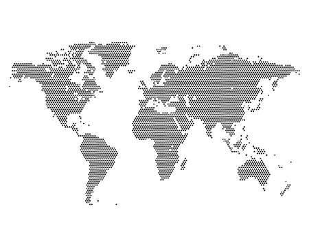 topographic map: Monochrome world map consisting dots, vector illustration
