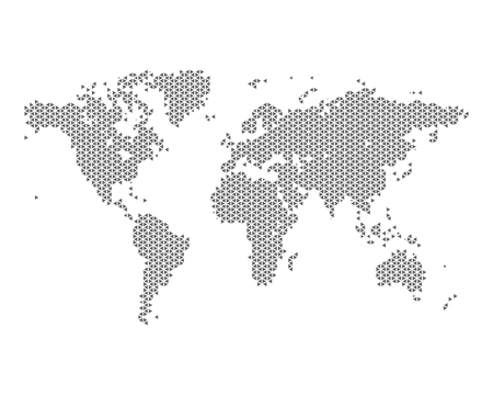 Zwart-wit kaart van de wereld, bestaande uit driehoeken, vector illustratie Stock Illustratie