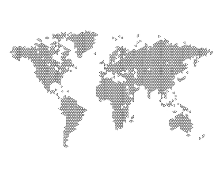 americas: Monochrome world map consisting of triangles, vector illustration Illustration