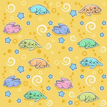 Pattern with a little sleeping rabbits on yellow background Illustration