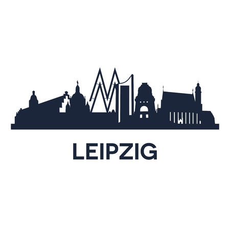 leipzig: Abstract skyline of city Leipzig in Germany, vector illustration