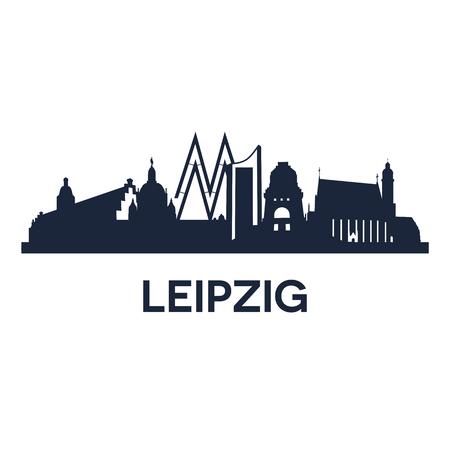 Abstraktní panorama města Lipska v Německu, vektorové ilustrace Ilustrace