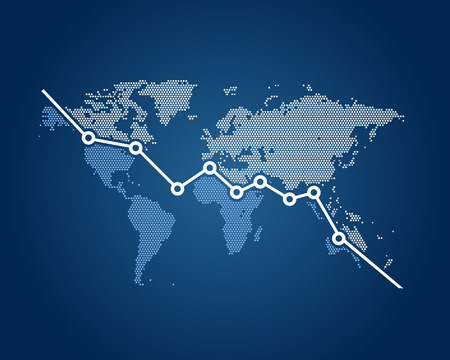 crisis: Financial crisis in the world, a downward graph with the world map in background Illustration