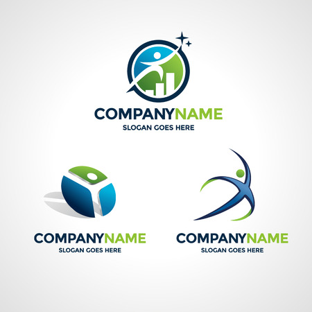business abstract: Set of three logo design templates for business, sport or fitness. Illustration