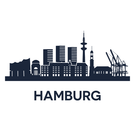 Abstract skyline of city Hamburg, vector illustration
