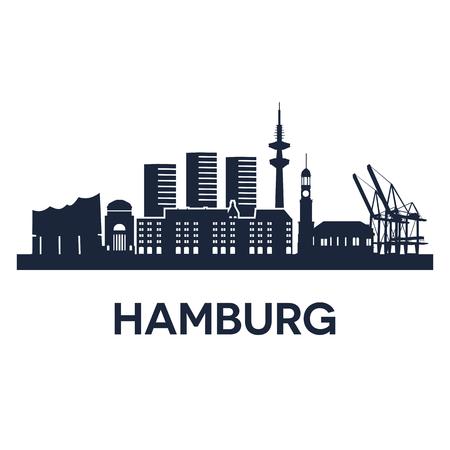 hamburg: Abstract skyline of city Hamburg, vector illustration