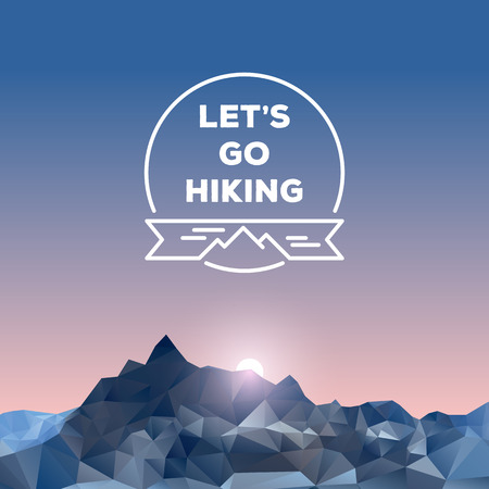 alps: Low polygonal mountains, hiking concept, vector illustration