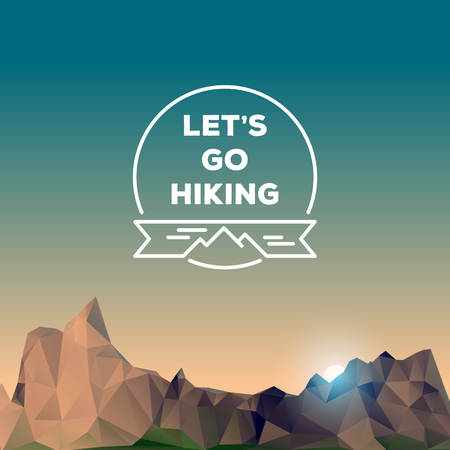 low poly: Low polygonal mountains, hiking concept, vector illustration