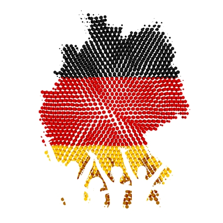 unity: German unity, silhouettes of celebrating people, german flag in the background Illustration