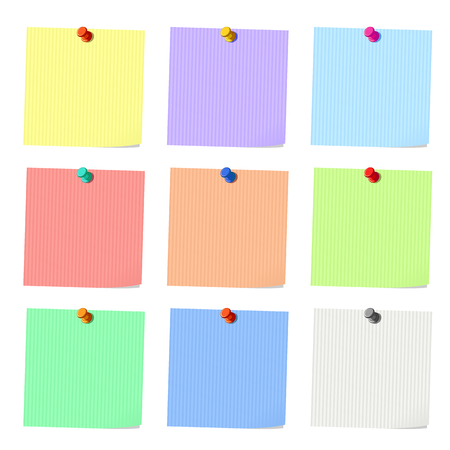 memos: Set of sticky notes, blank  pieces of paper, vector illustration