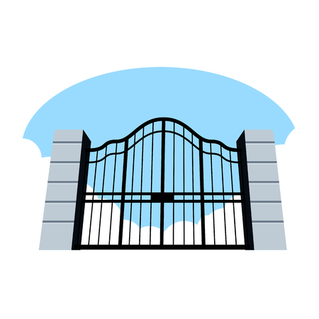 open gate: Illustration of old gates on the sky and clouds background