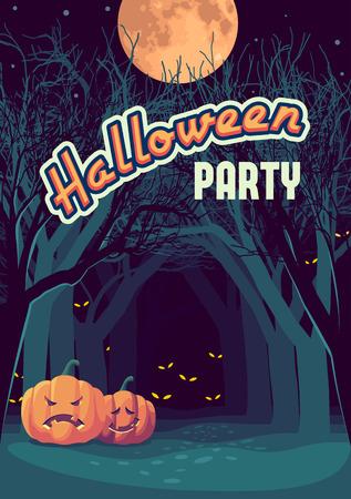 dark forest: Halloween card, dark creepy forest at night, vector illustration Illustration