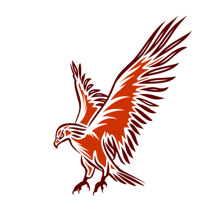 falcons: Illustration of red flying eagle, eagle tattoo, vector illustration