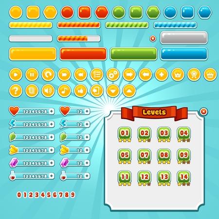 Game-interface elementen set, verschillende knoppen, de vooruitgang bars en pictogrammen Stock Illustratie