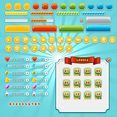 Game interface elements set, various buttons, progress bars and icons