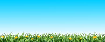 Green Lane, nahtlose Hintergrund mit Gras und Blumen Illustration