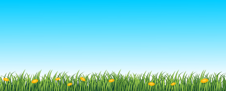 skies: Green lane, seamless background with grass and flowers