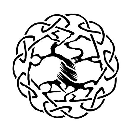 arbol de la vida: Ilustración del árbol de la vida céltico, versión en blanco y negro, ilustración vectorial