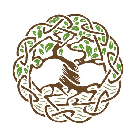 Illustratie van Keltische boom van het leven, kleur versie, vector illustratie Stock Illustratie