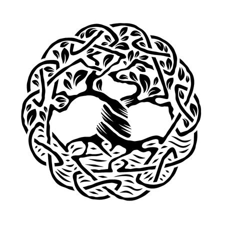 nudos: Ilustración del árbol de la vida céltico, versión en blanco y negro, ilustración vectorial