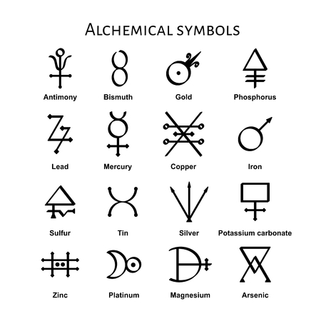 Verzameling van verschillende alchemistische symbolen, vector illustratie Stock Illustratie