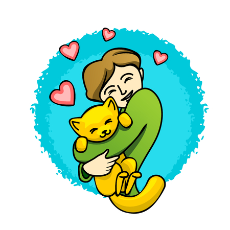 hugs: Girl hugs her little cat, vector illustration