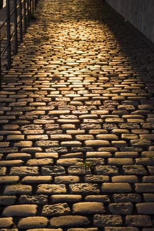 cobblestone street: Cobblestone Street in the Light of Sunset
