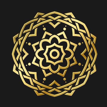 gold floral: Round gold ornament, gold design element, tattoo design