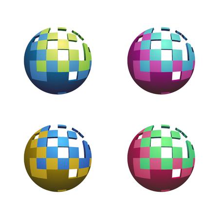 Satz von vier abstrakte 3D-Kugeln isoliert auf weißem Hintergrund Illustration
