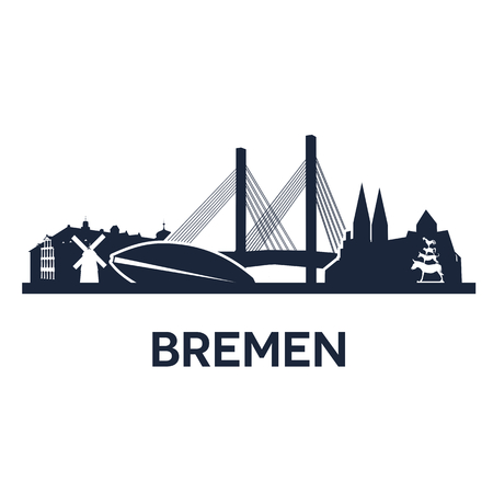 bremen: Abstract skyline of city Bremen, vector illustration Illustration