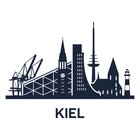 holstein: Abstract skyline of city Kiel, vector illustration