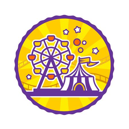 amusement: Amusement park emblem, round yellow emblem, vector illustration