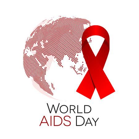 Wereld Aids dag illustratie, abstracte wereld met een rood lint Stock Illustratie
