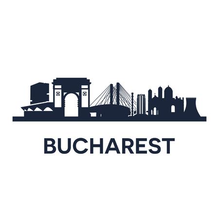 Abstracte skyline van de stad Boekarest, vector illustratie