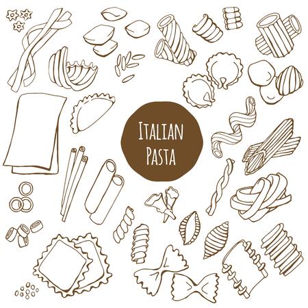 pasta: pasta italiana, mano conjunto de vectores dibujado aislado en el fondo blanco
