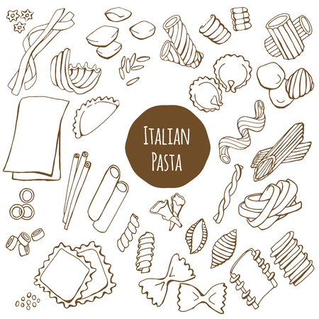 Italian pasta, hand drawn vector set isolated on white background Illustration