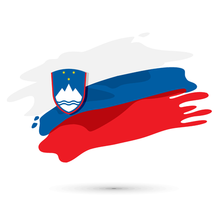 independance: Vector flag of Slovenia painted  with a brush, independance day illustration