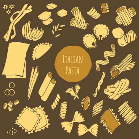 Italiaanse pasta, hand getrokken vector set geïsoleerd op een donkere achtergrond