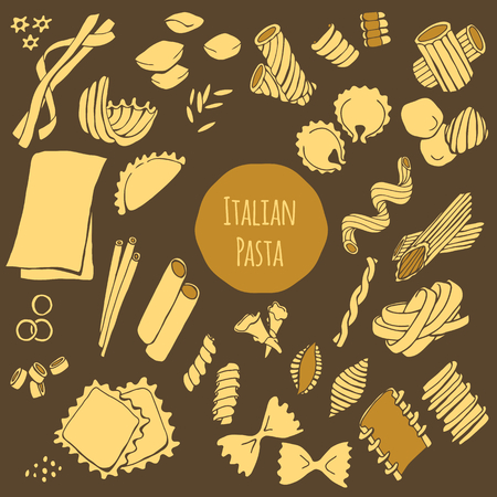 Italian pasta, hand drawn vector set isolated on dark background