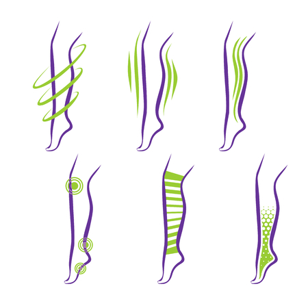 leg: Legs. Problems and treatment - medical massage, compression garment, balms Illustration